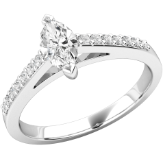 Single Stone Engagement Ring With Shoulders for Women in 18ct White Gold with a Marquise Centre and Round Brilliant Cut Shoulders