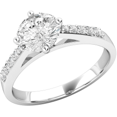 Inel de Logodna Solitaire cu Diamante Mici pe Lateral Dama Aur Alb 18kt cu Diamante Rotunde In Setare Gheare