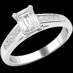 RD438W1 - Inel aur alb 18kt cu diamant central smarald si diamante princess pe lateral