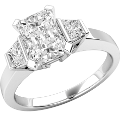 Single Stone Engagement Ring With Shoulders/Three Stone Ring for women in platinum with a radiant cut diamond centre and trapezium cut diamond shoulders