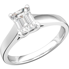 Single Stone Engagement Ring for Women in 18ct White Gold with an Emerald Cut Diamond in a Claw Setting