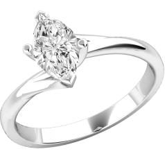 Single Stone Twist Engagement Ring for Women in 18ct White Gold with a Marquise Cut Diamond