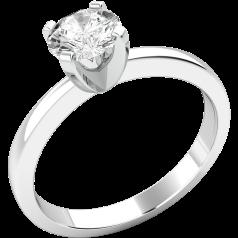 Solitär Verlobungsring für Dame in 9kt Weißgold mit einem runden Brillantschliff Diamanten
