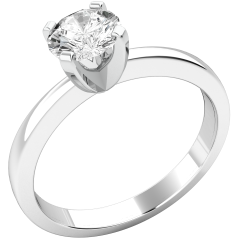 Single Stone Engagement Ring for Women in Palladium with a Round Brilliant Diamond in a Claw Setting