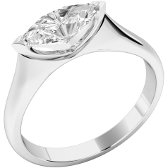 Single Stone Engagement Ring for Women in Platinum with a Marquise Cut Diamond set horizontally
