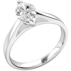 Single Stone Engagement Ring for Women in 18ct White Gold with a Marquise Diamond