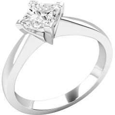 Single Stone Engagement Ring for Women in 9ct White Gold with a Princess Cut Solitaire