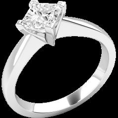 Solitär Verlobungsring für Dame in 9kt Weißgold mit einem Princess Schliff Diamanten