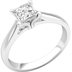 Single Stone Engagement Ring for Women in Platinum with a Princess Cut Diamond in Stock