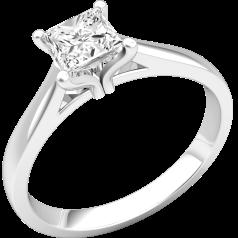 Solitär Verlobungsring für Dame in 18kt Weißgold mit Princess Schliff Diamanten