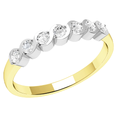 Half Eternity Ring for women in 9ct yellow and white gold with 7 round brilliant cut diamonds