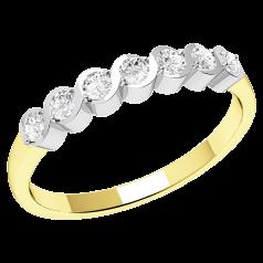 Halb Eternity Ring für Dame in 9kt Gelbgold und Weißgold mit 7 runden Brillanten