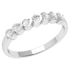 Half Eternity Ring for women in 18ct white gold with 7 round brilliant cut diamonds