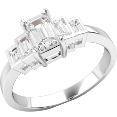 Single Stone Engagement Ring with Shoulders/Multi Stone Engagement Ring for Women in white gold with an emerald cut diamond and baguette shoulders