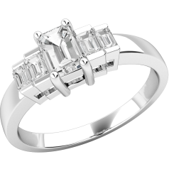 Inel de Logodna cu Mai Multe Diamante/Solitaire cu Diamante Mici pe Lateral Dama Aur Alb 18kt cu un Diamant Taietura Smarald si Diamante Taietura Bagheta pe Margini