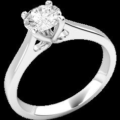 Solitär Verlobungsring für Dame in 9kt Weißgold mit einem runden Brillanten