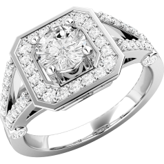RD461PL - Inel din platină cu un diamant rotund în centru şi diamante rotunde pe lateral