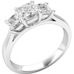 Three Stone Ring/Engagement Ring for women in 18ct white gold with three princess diamonds in a claw setting
