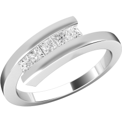 Dress Cocktail Ring/Multi Stone Engagement Ring for Women in 18ct white gold with 5 princess cut diamonds on a twist