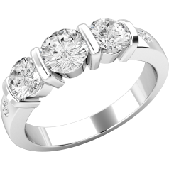 Three Stone Ring with Shoulders/Multi Stone Engagement Ring for women in 18ct white gold with 3 round diamonds in a bar-setting and 2 rub-over set diamonds