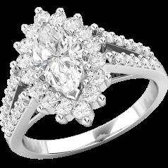 RD478PL - Platin Ring mit einem Marquise Diamanten in der Mitte und runden Brillanten auf den Schultern
