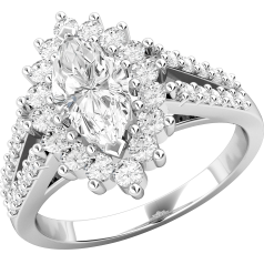 Inel Cocktail/ Inel de Logodna Cu Diamante Dama Aur Alb 18kt cu un Diamant Central Marchiza si Diamante Rotunde Briliant pe Margini