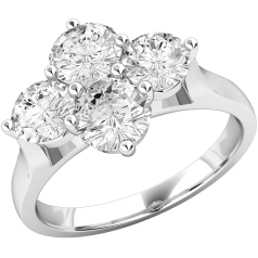 Cluster Engagement Ring For Women in Platinum with 4 Round Brilliant Cut Diamonds in a Claw Setting