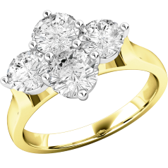 Cluster Engagement Ring For Women in 18ct Yellow and White Gold with 4 Round Brilliant Cut Diamonds in a Claw Setting