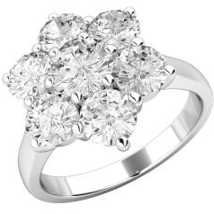 Cluster Engagement Ring For Women in 18ct White Gold with Seven Round Brilliant Cut Diamonds in a Claw Setting