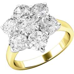 Cluster Engagement Ring For Women in 18ct Yellow and White Gold with Seven Round Brilliant Cut Diamonds in a Claw Setting