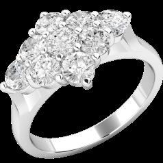 Verlobungsring im Cluster Stil für Dame in Platin mit 9 runden Brillanten in Krappenfassung