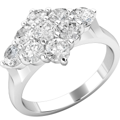 Cluster Engagement Ring For Women in 18ct White Gold with 9 Round Brilliant Cut Diamonds in a Claw Setting