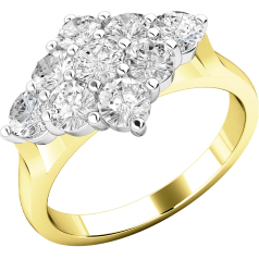 Cluster Engagement Ring For Women in 18ct Yellow and White Gold with 9 Round Brilliant Cut Diamonds in a Claw Setting
