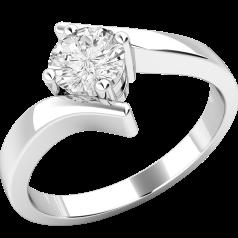 Solitär Verlobungsring für Dame in 9kt Weißgold mit rundem Brillanten in Krappenfassung