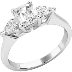 Three Stone Ring/Engagement Ring for women in platinum with an emerald cut diamond in the centre and a pear-shaped diamond on either side, all in a claw setting