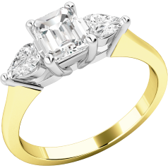 Three Stone Ring/Engagement Ring for women in 18ct yellow and white gold with an emerald cut diamond in the centre and a pear-shaped diamond on either side, all in a claw setting