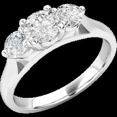 Inel de logodna/Inel cu 3 Diamante Dama Platina cu Trei Diamante Rotund Briliant in Setare Gheare