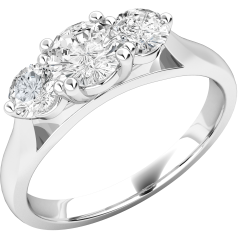 Three Stone Ring/Engagement Ring for women in 18ct white gold with three round brilliant cut diamonds in a claw setting