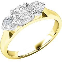 Three Stone Ring/Engagement Ring for women in 18ct yellow and white gold with three round brilliant cut diamonds in a claw setting