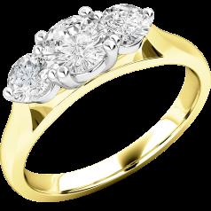 Drei-Steine Ring/Verlobungsring für Dame in 18kt Gelbgold und Weißgold mit 3 runden Brillanten in Krappenfassung