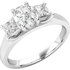 Three Stone Ring/Engagement Ring for women in platinum with an oval diamond in the centre and a princess cut diamond either side, all in a claw setting