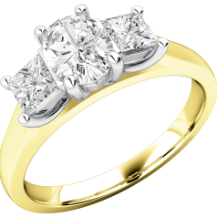 Three Stone Ring/Engagement Ring for women in 18ct yellow and white gold with an oval diamond in the centre and a princess cut diamond either side, all in a claw setting