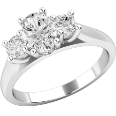 Three Stone Ring/Engagement Ring for women in platinum with an oval diamond in the centre and a round brilliant cut on either side all in a claw setting