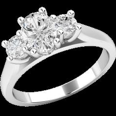 Drei-Steine Ring/Verlobungsring für Dame in 18kt Weißgold mit einem Ovalen Diamanten und 2 runden Diamanten