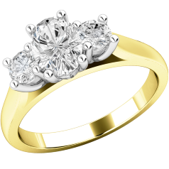 Three Stone Ring/Engagement Ring for women in 18ct yellow and white gold with an oval diamond in the centre and a round brilliant cut on either side all in a claw setting