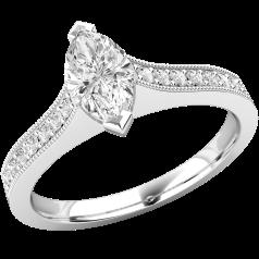 Solitär Verlobungsring mit Schultern für Dame in 18kt Weißgold mit einem Marquise Schliff Diamanten und 7 Brillanten auf beiden Schultern