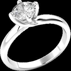Solitär Verlobungsring für Dame in 9kt Weißgold mit einem runden Brillanten in 4er Krappenfassung