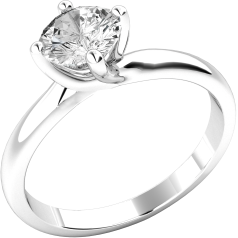Single Stone Engagement Ring for Women in 18ct White Gold with a Round Brilliant Cut Diamond in a 4 claw Setting