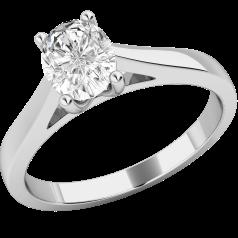 Solitär Verlobungsring für Dame in 18kt Weißgold mit einem ovalen Diamanten in 4er Krappenfassung
