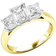 Three Stone Ring/Engagement Ring for women in 18ct yellow and white gold with an emerald cut diamond and a princess cut diamond on either side, all in a claw setting